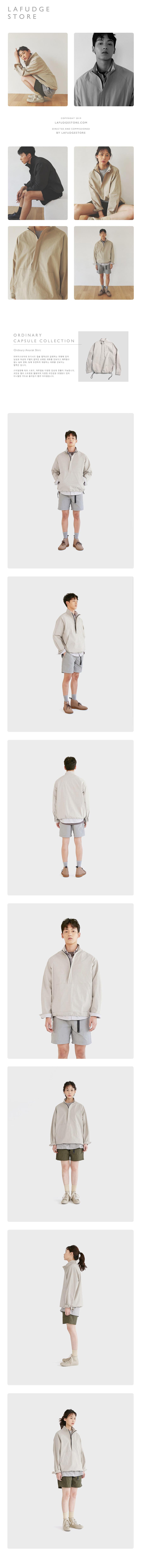 라퍼지스토어(LAFUDGESTORE) (Unisex)오디너리 아노락 셔츠_Smoke Gray