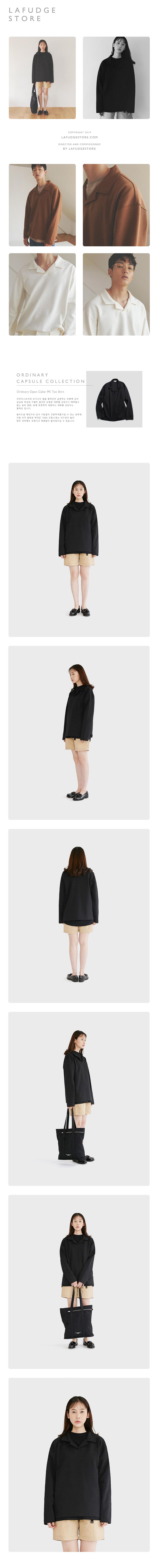 라퍼지스토어(LAFUDGESTORE) (Unisex)오디너리 오버핏 슬립 피케이 셔츠_Black